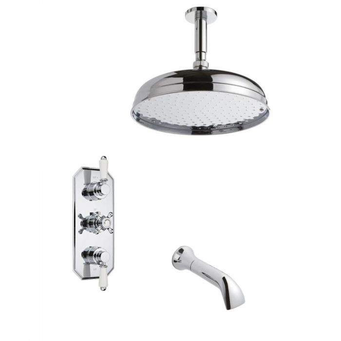 Milano Thermostatic Shower Valve Including Ceiling arm, Spout and Head