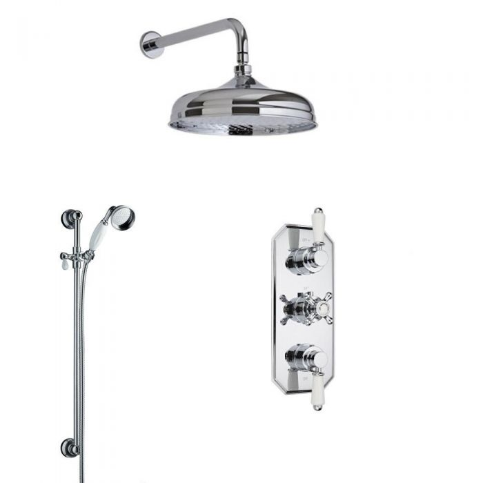Milano Traditional Triple Diverter Thermostatic Valve, 200mm Apron Head, Arm, Slide Rail and Spout