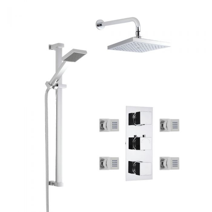Milano Square Thermostatic Shower with Wall Mounted Head, Slide Rail Kit and Body Jets