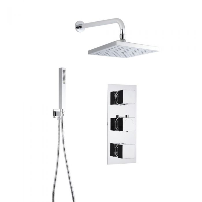 Milano Square Shower with Wall Mounted Head and Hand Shower