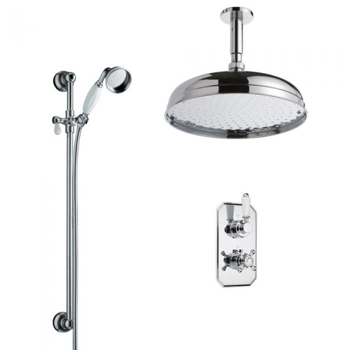 Milano Traditional Twin Diverter Thermostatic Valve, 300mm Head, Ceiling Arm and Slide Rail Kit