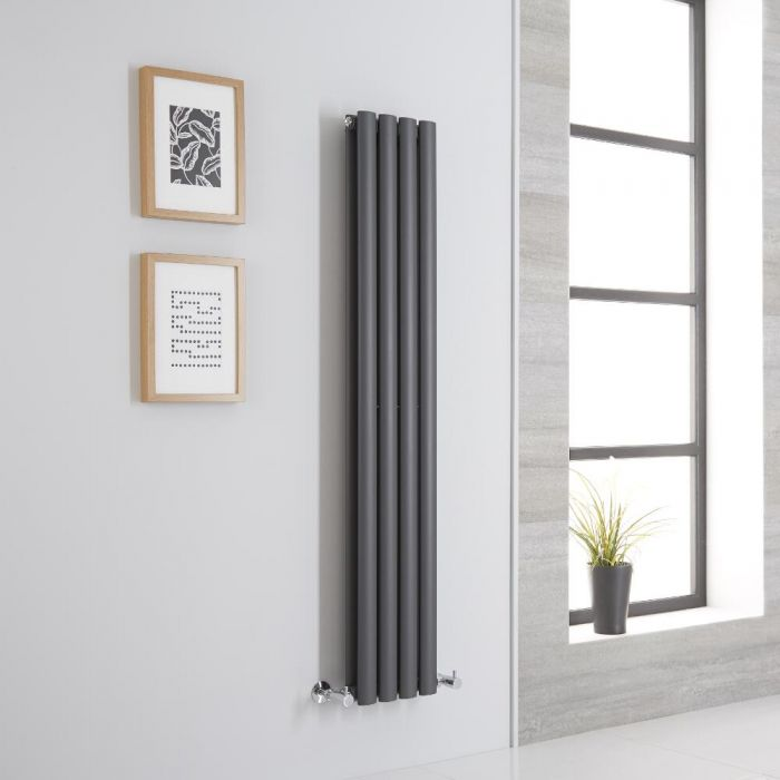 Milano Aruba Aiko - Anthracite Vertical Designer Radiator - 1400mm x 236mm (Double Panel)