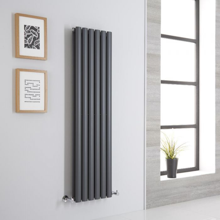 Milano Aruba Aiko - Anthracite Vertical Designer Radiator - 1400mm x 354mm (Double Panel)
