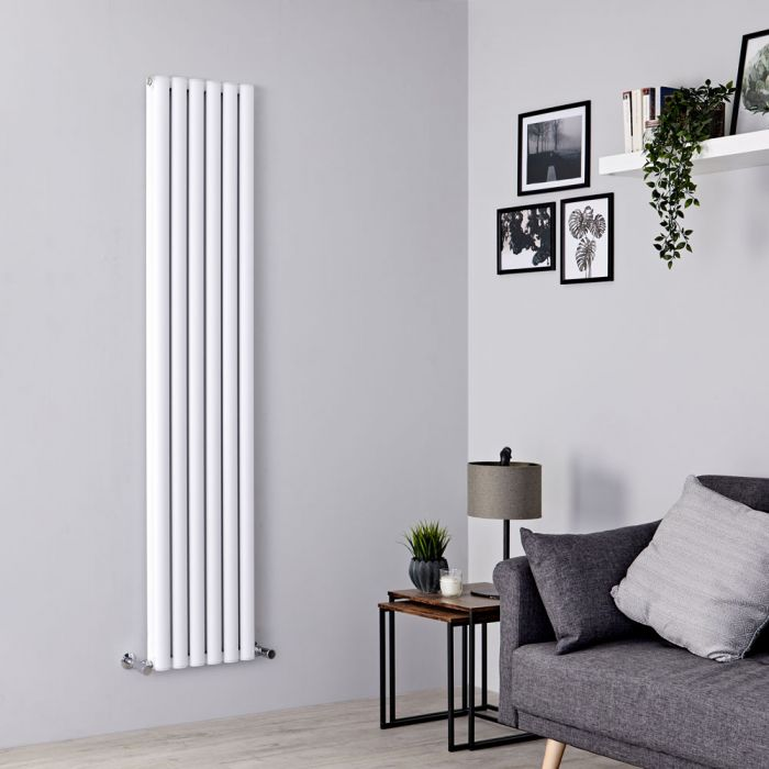 Milano Aruba Ayre - Aluminium White Vertical Designer Radiator - 1800mm x 350mm (Double Panel)