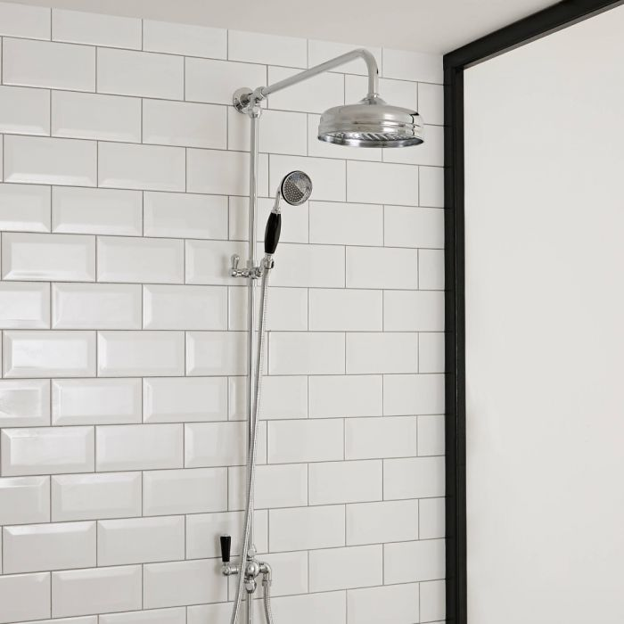 Hudson Reed Topaz - Traditional Victorian Grand Rigid Riser Shower Kit with Hand Shower - Chrome and Black