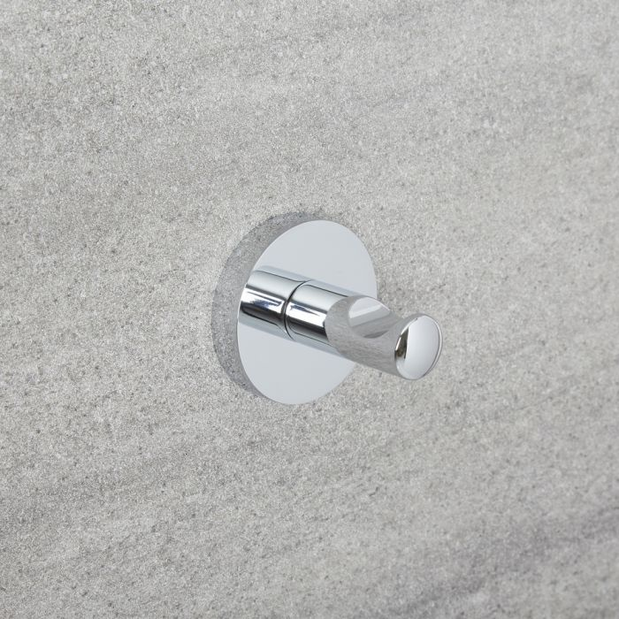Milano Mirage - Modern Single Robe Hook - Chrome