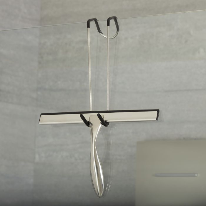 Milano Chrome Shower Squeegee with Enclosure Hook