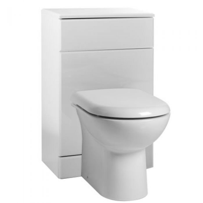 Milano Select - White Gloss Back To Wall Toilet Pan And Cistern 600mm