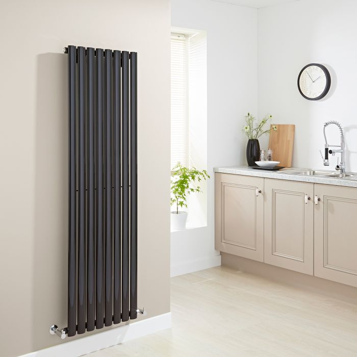 Milano Aruba - Luxury High Gloss Black Vertical Designer Radiator 1600mm x 472mm