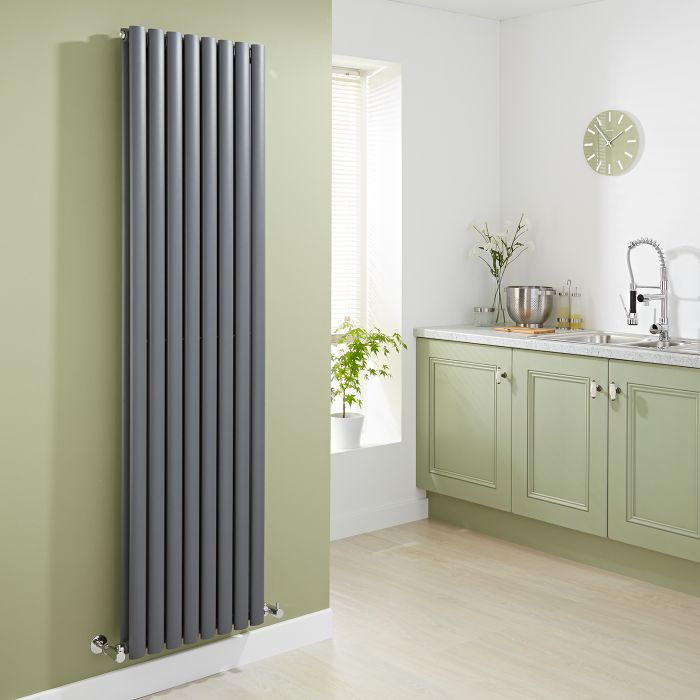 Milano Aruba - Anthracite Vertical Designer Radiator - 1780mm x 472mm (Double Panel)