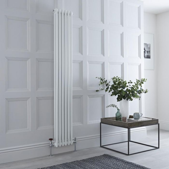 Milano Windsor - Traditional White Vertical Column Radiator - 1800mm x 290mm (Double Column)