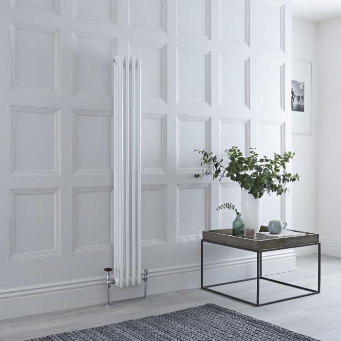 Milano Windsor - White Traditional Vertical Column Radiator - 1500mm x 200mm (Triple Column)