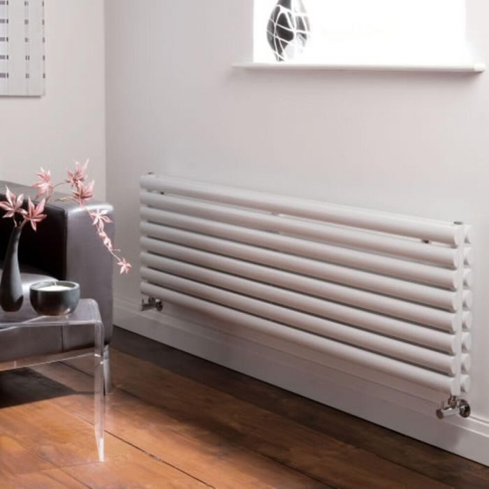 Milano Aruba - Luxury White Horizontal Designer Double Radiator 472mm x 1600mm
