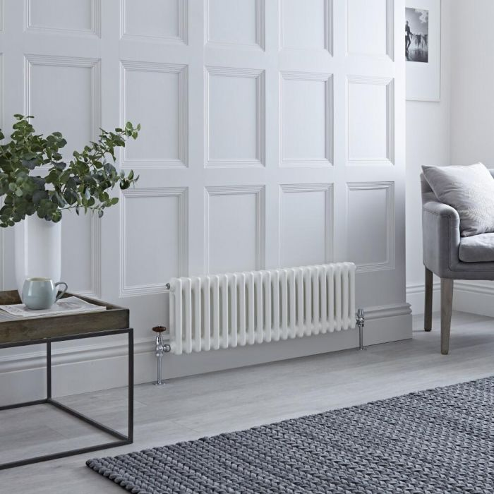 Milano Windsor - White Horizontal Traditional Column Radiator - 300mm x 1010mm (Double Column)