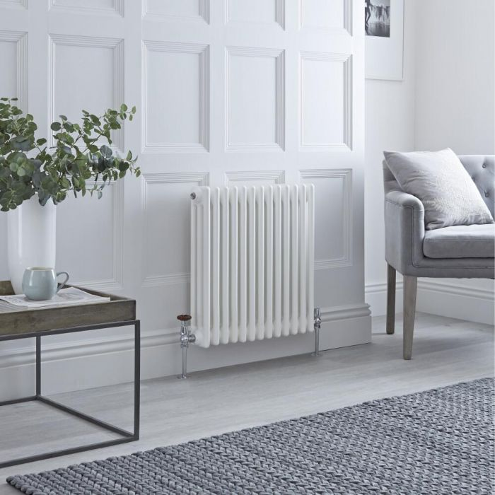 Milano Windsor - White Traditional Horizontal Column Radiator - 600mm x 608mm (Triple Column)