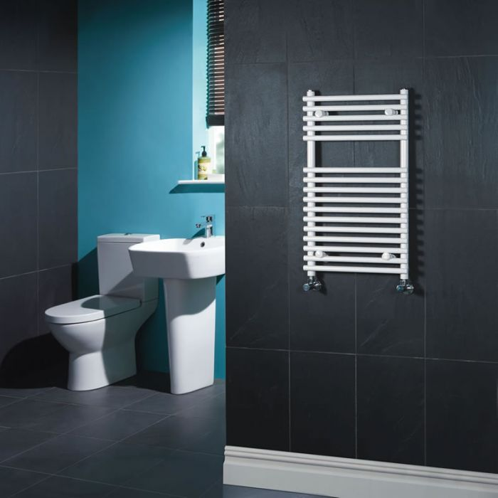 Kudox Harrogate - White Flat Bar on Bar Heated Towel Rail - 750mm x 450mm