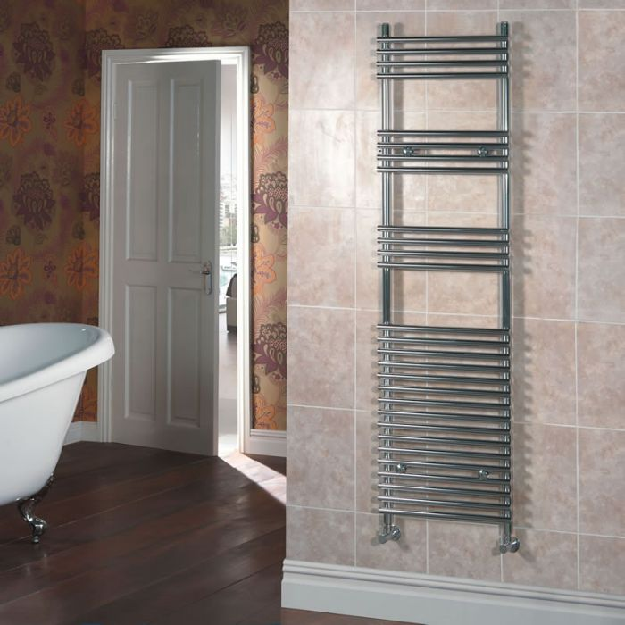 Kudox - Chrome Flat Bar on Bar Heated Towel Rail - 1650mm x 450mm