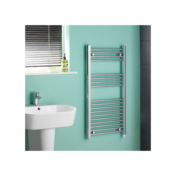 Kudox - Chrome Flat Standard Electric Heated Towel Rail - 500mm x 1000mm