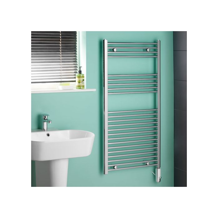Kudox - Chrome Flat Thermostatic Electric Heated Towel Rail - 1200mm x 600mm