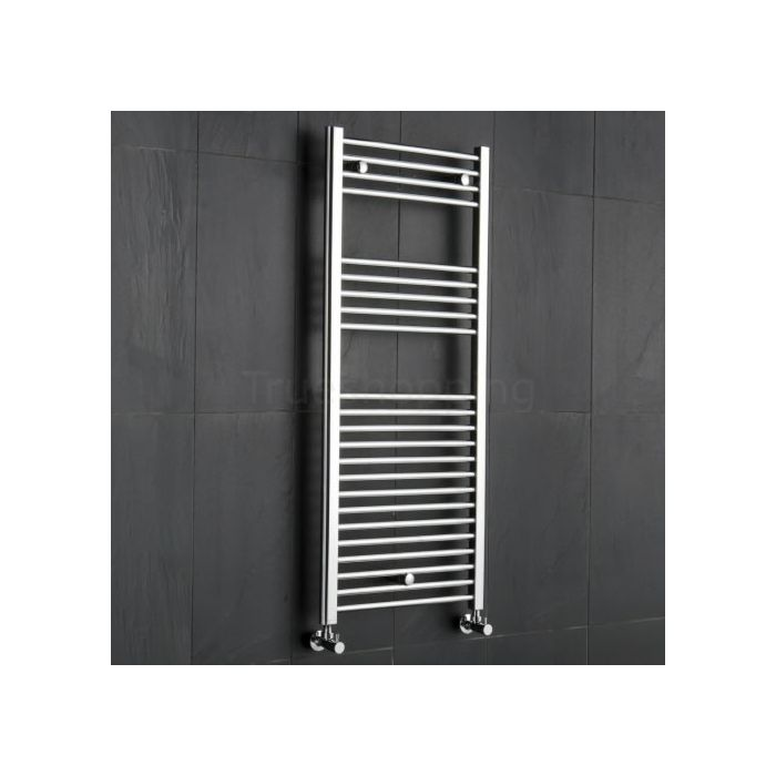 Kudox - Premium Chrome Flat Heated Bathroom Towel Radiator Rail 1200mm x 500mm