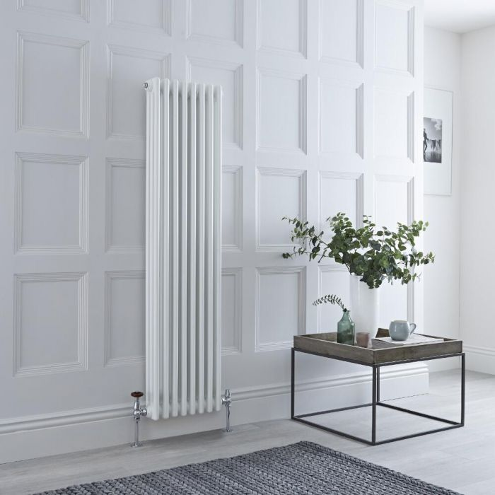 Milano Windsor - Traditional 8 x 3 Column Radiator Cast Iron Style White 1500mm x 383mm