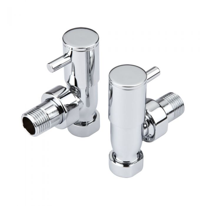 Milano - Minimalist radiator valves angled Pack of 12 Pair