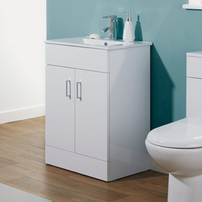 Milano - White Modern 605mm Minimalist Floor Standing Vanity Unit with Basin (1 Tap-Hole)