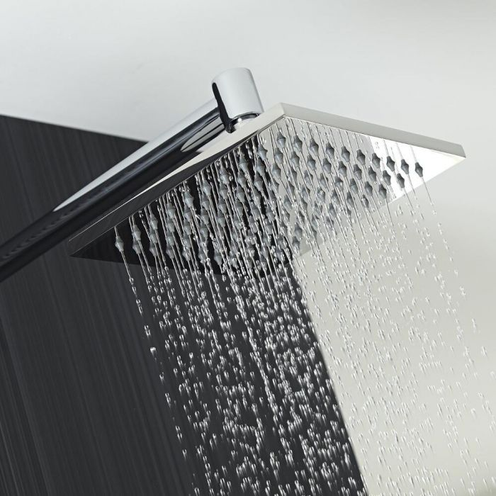 Milano 200mm Square Shower Head and Minimalist Arm