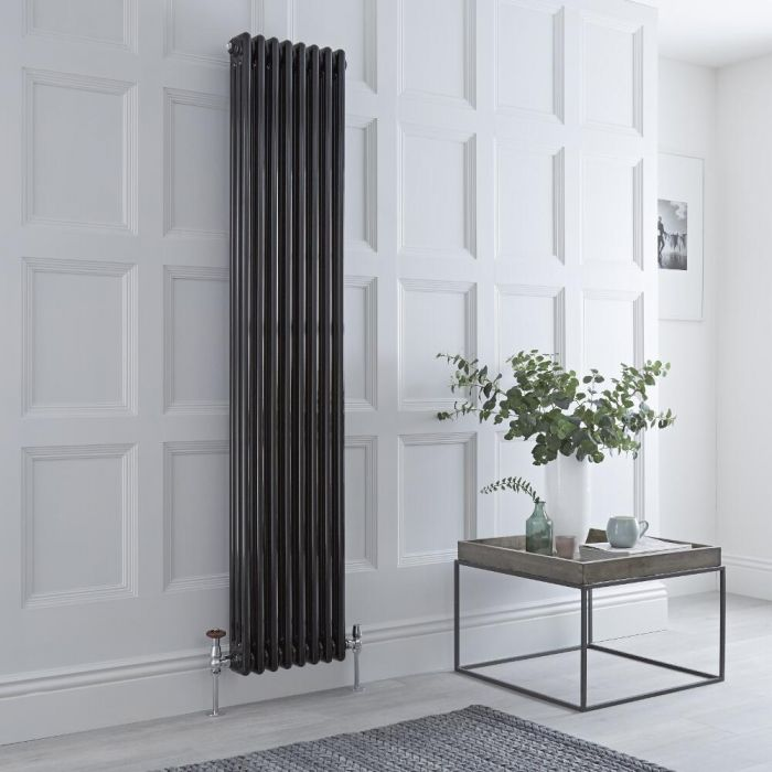 Milano Windsor - Black Vertical Traditional Column Radiator - 1800mm x 380mm (Triple Column)