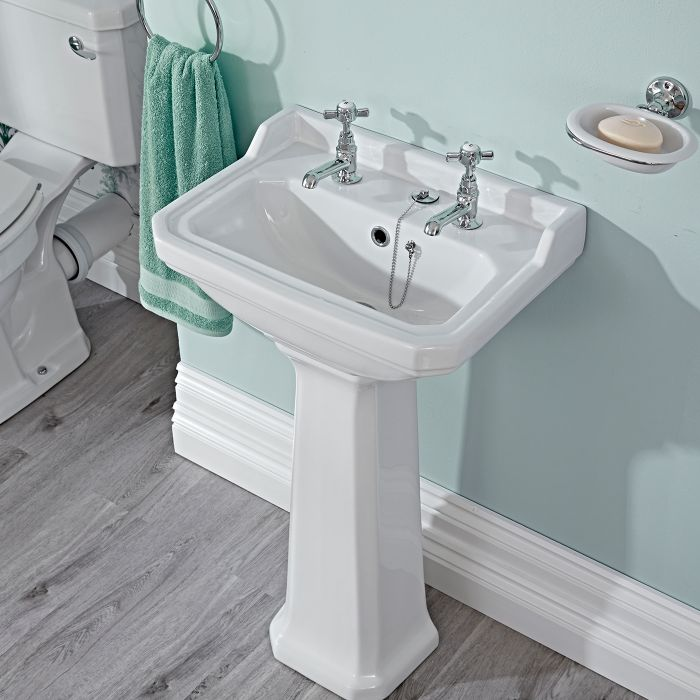 Milano Carlton - White Traditional Square Cloakroom Basin with Full Pedestal - 500mm x 350mm (2 Tap-Holes)