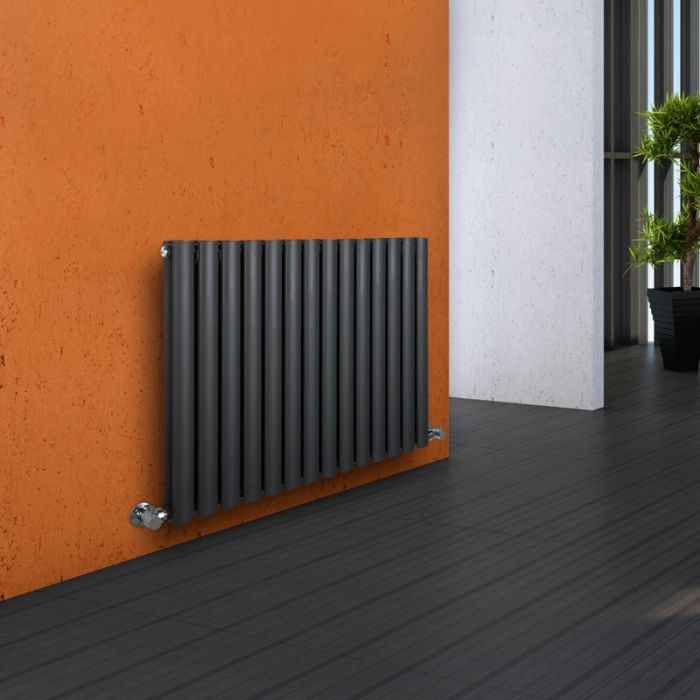 Milano Aruba - Luxury Anthracite Horizontal Designer Double Radiator 635mm x 834mm