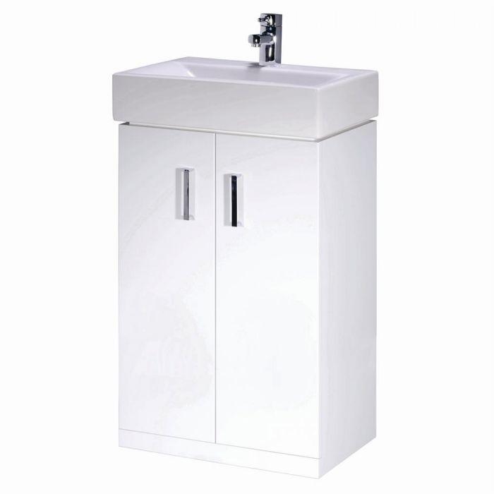 Premier Checkers 450mm Floor Standing Gloss White Vanity Unit