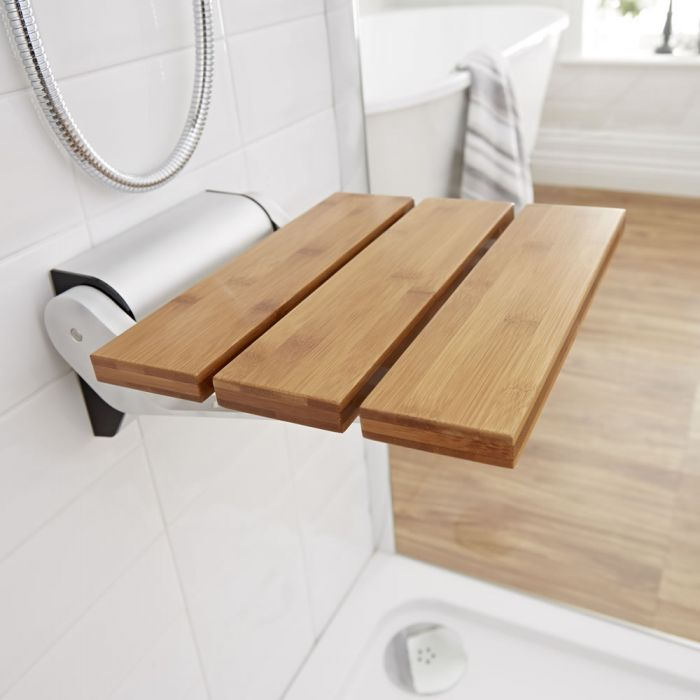 Milano Select - Modern Wall Mounted Folding Shower Seat - Bamboo