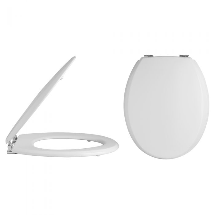 Milano Carlton - White Traditional Toilet Seat with Bevelled Lid