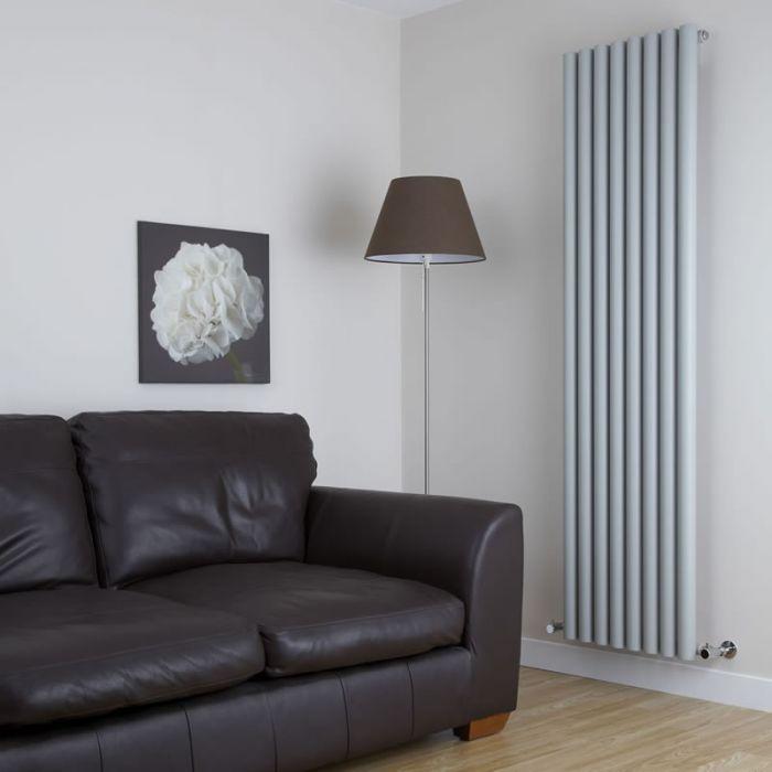 Milano Java - Silver Vertical Round Tube Designer Radiator 1780mm x 472mm
