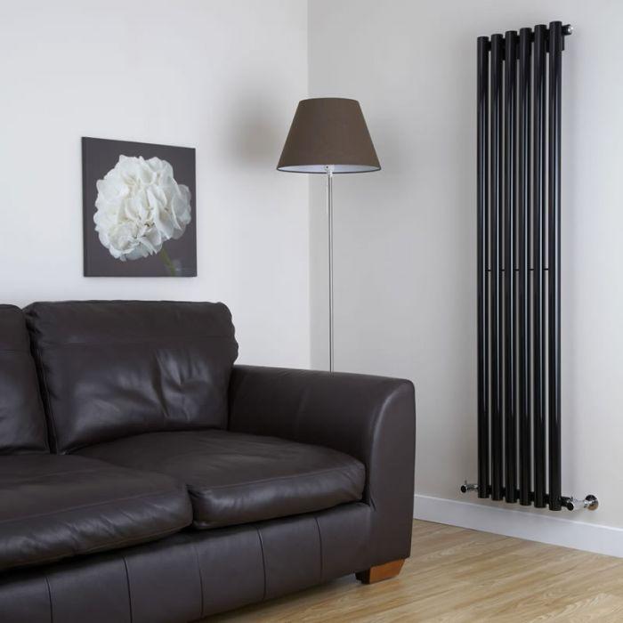Milano Java - High-Gloss Black Vertical Round Tube Designer Radiator 1780mm x 360mm