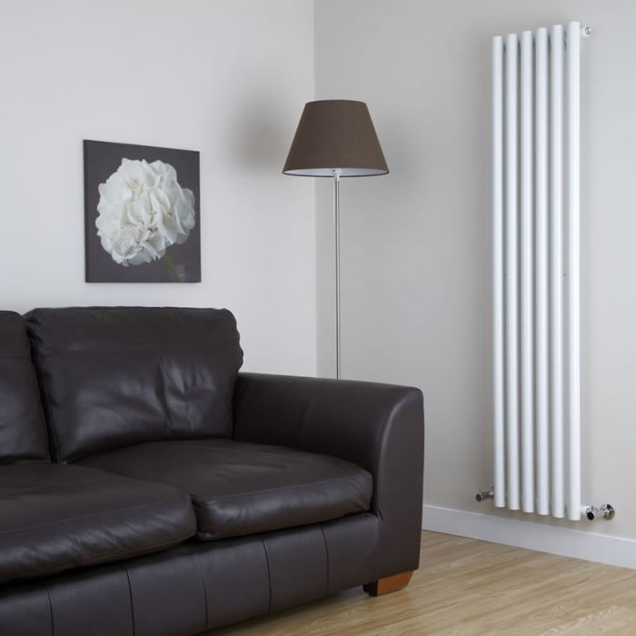Milano Java - White Vertical Round Tube Designer Radiator 1780mm x 360mm