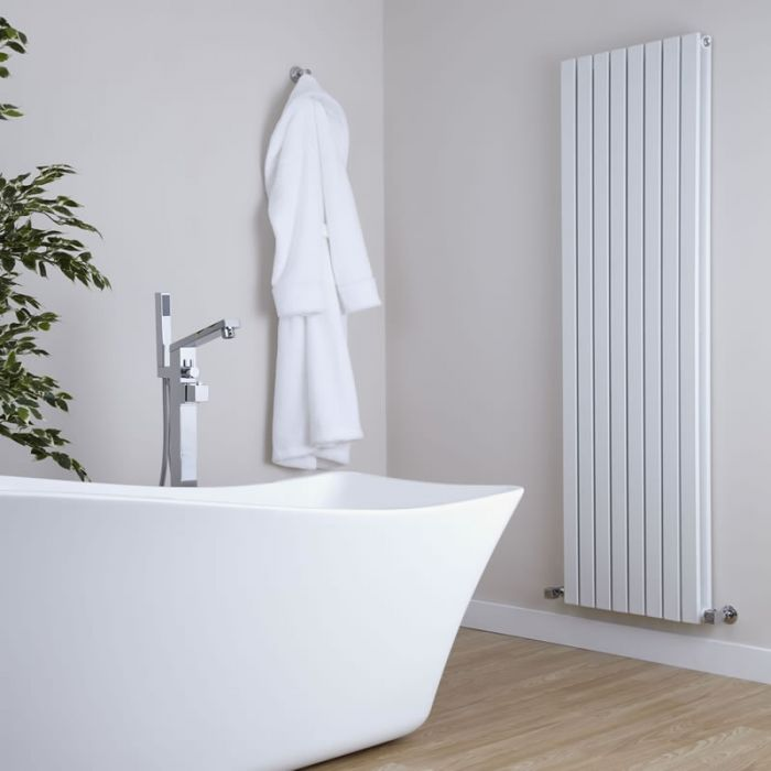 Milano Capri - White Vertical Designer Radiator - 1600mm x 472mm (Double Panel)