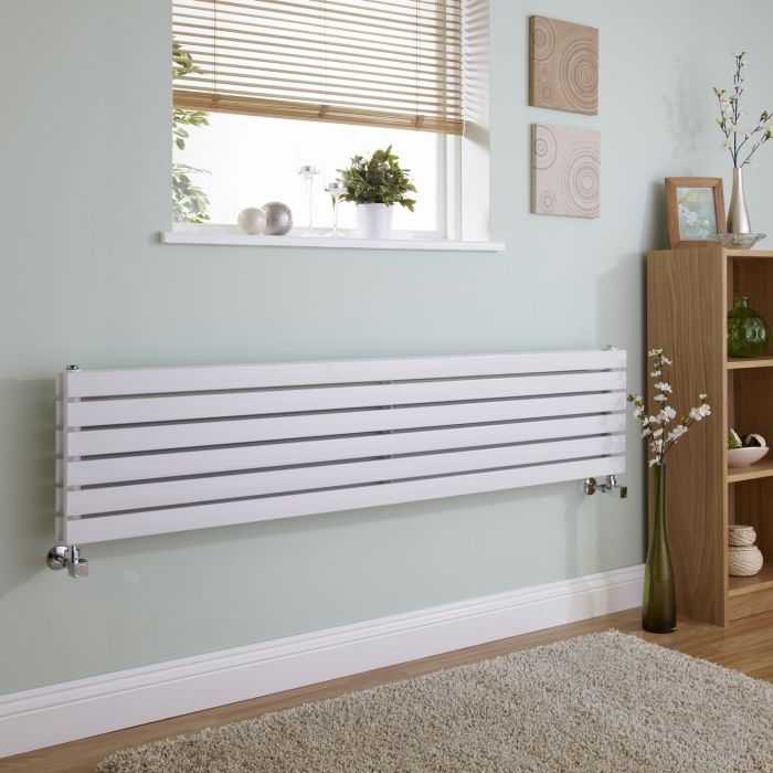 Milano Capri - White Flat Panel Horizontal Designer Radiator - 354mm x 1780mm (Double Panel)