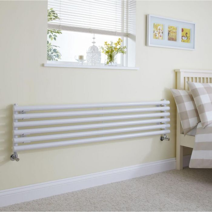 Milano Java - White Horizontal Round Tube Designer Radiator 354mm x 1600mm