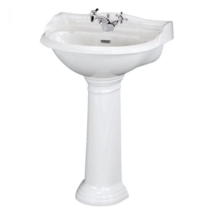 Premier Ryther - 600mm Basin with Full Pedestal - 1 Tap-Hole