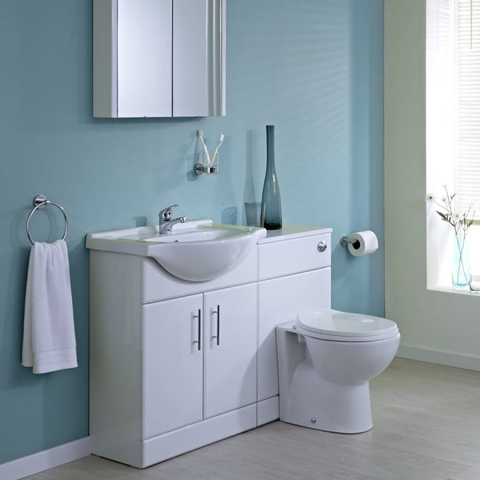 Milano 650mm White Gloss Furniture Sink & Toilet Set
