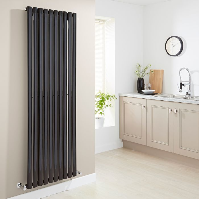 Milano Aruba - High-Gloss Black Vertical Designer Radiator 1780mm x 590mm