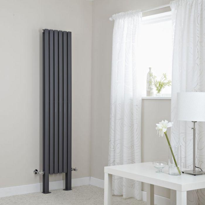 Milano Aruba Plus - Anthracite Vertical Designer Radiator with Feet - 1800mm x 354mm (Double Panel)