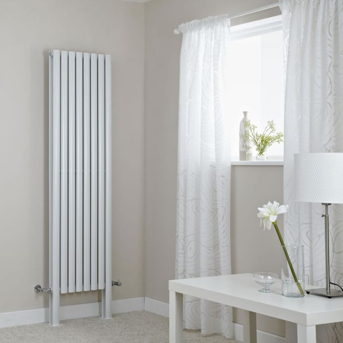 Milano Aruba Plus - White Vertical Designer Radiator with Feet 1800mm x 472mm (Double Panel)
