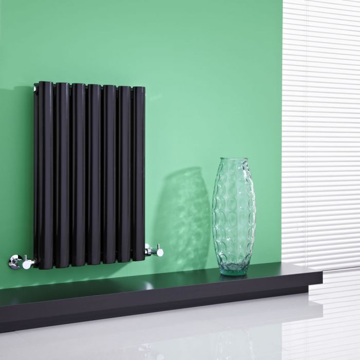 Milano Aruba - High-Gloss Black Horizontal Designer Radiator 635mm x 415mm (Double Panel)