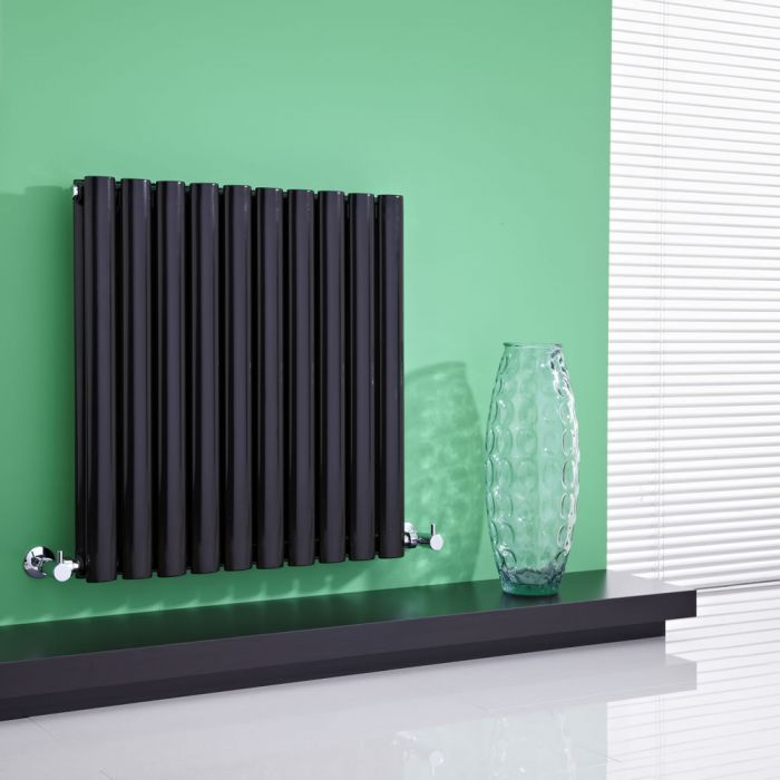 Milano Aruba - High-Gloss Black Horizontal Designer Radiator 635mm x 595mm (Double Panel)