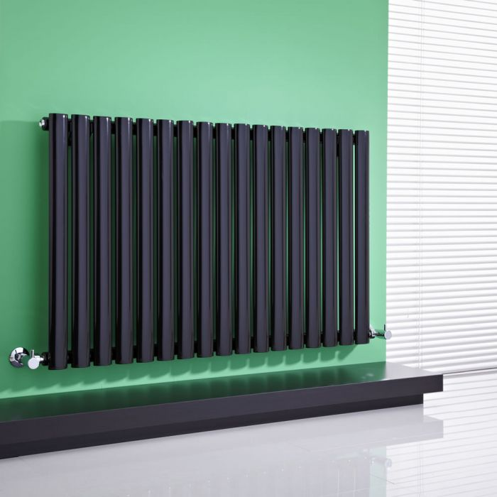 Milano Aruba - High-Gloss Black Horizontal Designer Radiator 635mm x 1000mm