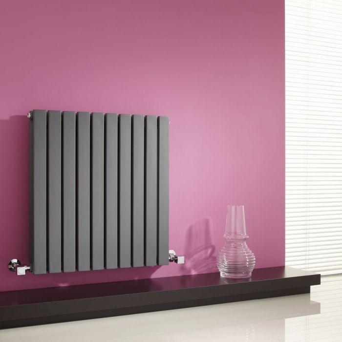 Milano Capri - Anthracite Horizontal Flat Panel Designer Radiator - 635mm x 600mm (Double Panel)