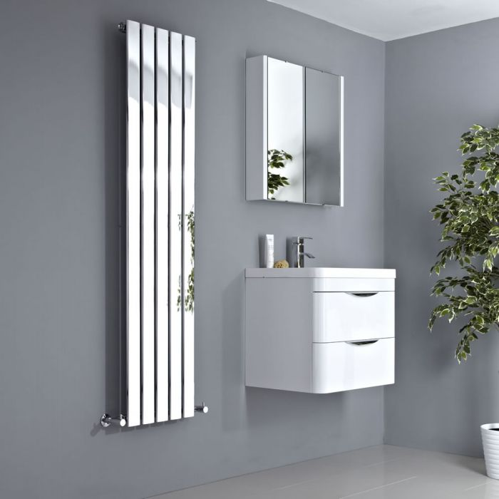 Milano Alpha - Chrome Flat Panel Vertical Designer Radiator - 1600mm x 375mm